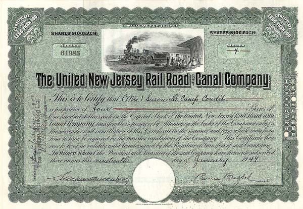 United New Jersey Railroad & Canal Company - Stock Certificate