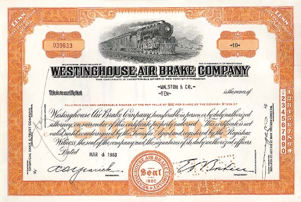 Westinghouse Air Brake Company - Stock Certificate