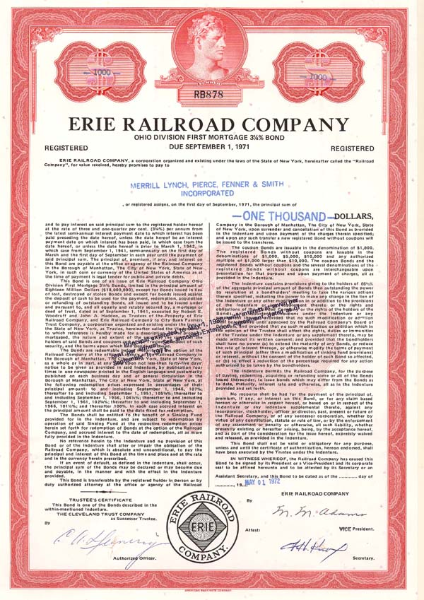 Erie Railroad - Bond