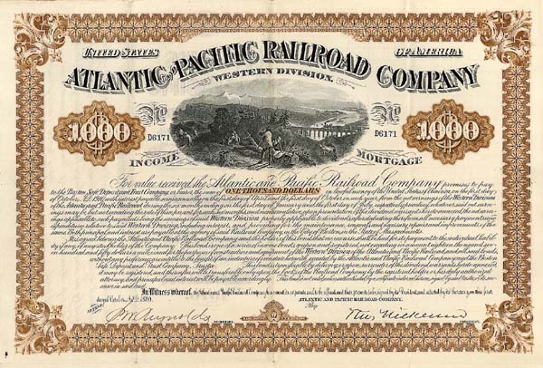 Atlantic and Pacific Railroad Western Division - $1,000 Bond
