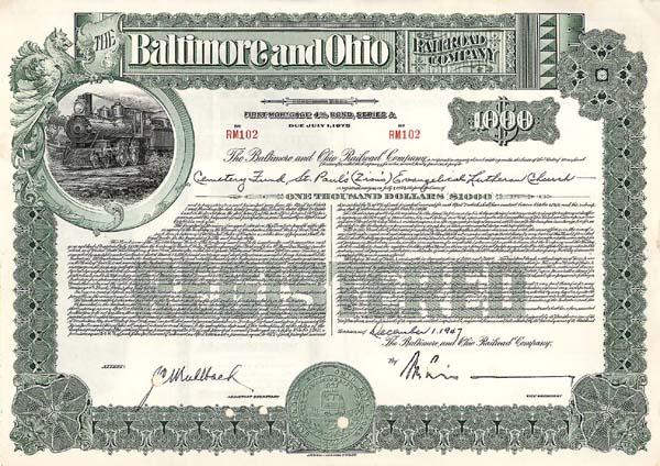 Baltimore & Ohio Railroad - Bond - SOLD