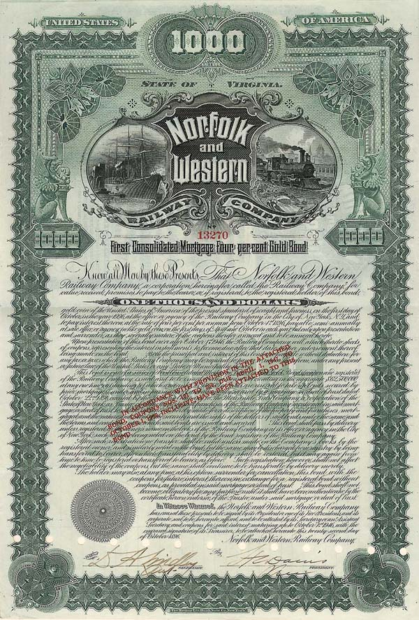 Norfolk and Western Railway Company - Bond