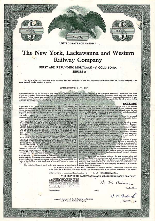 New York, Lackawanna & Western Railway - Bond