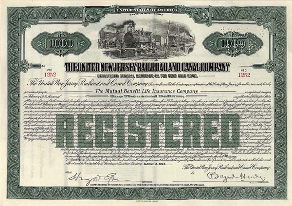 United New Jersey RR and Canal Co - Bond