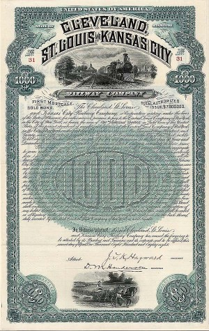 Cleveland, St Louis and Kansas City Railway Company - $1,000 - Bond