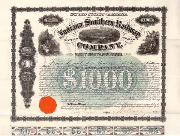 Indiana Southern Railway Bond signed by Samuel Tilden - $1,000 Uncanceled Bond (Uncanceled)