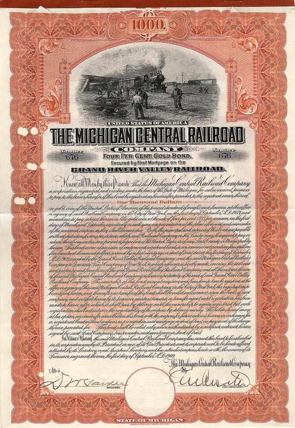 Michigan Central Railroad Company - $1,000 - Bond