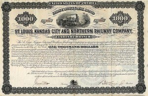 St Louis, Kansas City and Northern Railway Company - $1,000 Bond