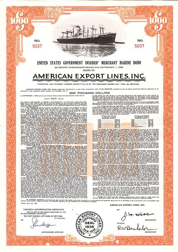 American  Export Lines, Inc - Bond