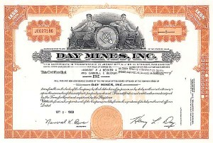 Day Mines, Inc - Stock Certificate