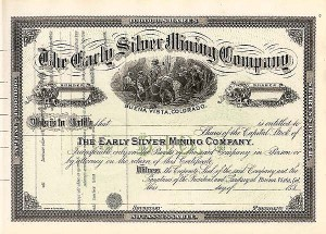 Early Silver Mining - Stock Certificate