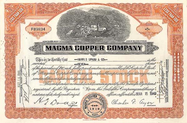 Magma Copper - Stock Certificate