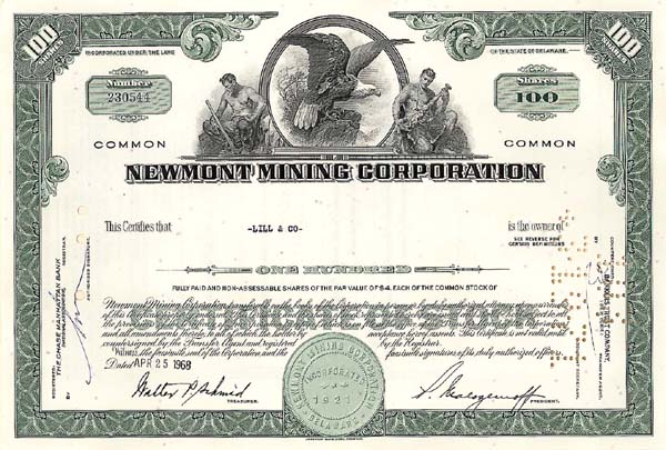 Newmont Mining Corporation - Stock Certificate