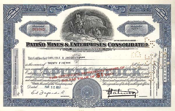 Patino Mines & Enterprises Cons. - Stock Certificate
