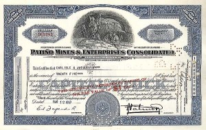 Patino Mines and Enterprises Consolidated Inc. - Stock Certificate