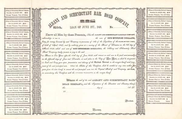 Albany & Schenectady Railroad - Bond