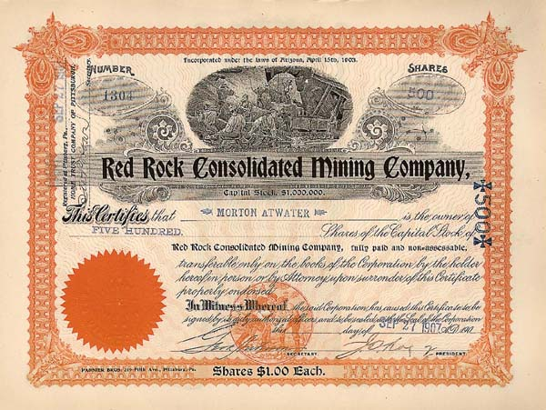 Red Rock Consolidated  Mining Company - Stock Certificate