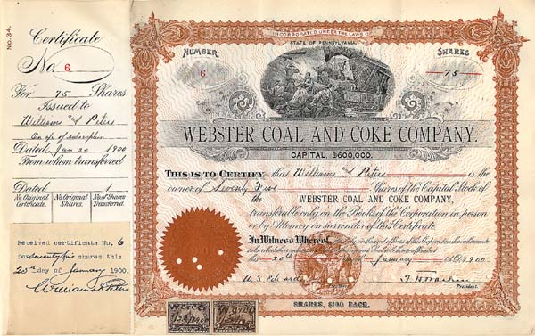 Webster Coal and Coke Company - Stock Certificate