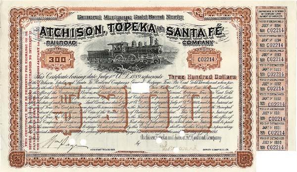 Atchison, Topeka and Santa Fe Railroad Company - Bond