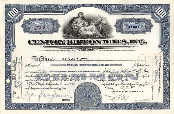 Century Ribbon Mills, Incorporated - Stock Certificate