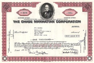 Chase Manhattan Corp - Printed Signature of David Rockefeller - Stock Certificate