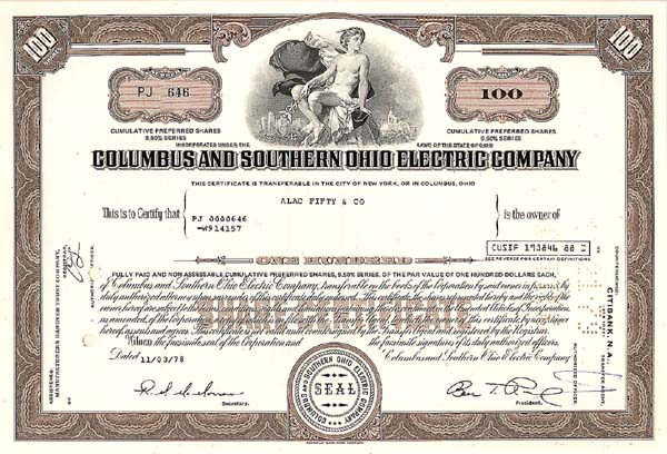 Columbus & Southern Ohio Electric Company - Stock Certificate