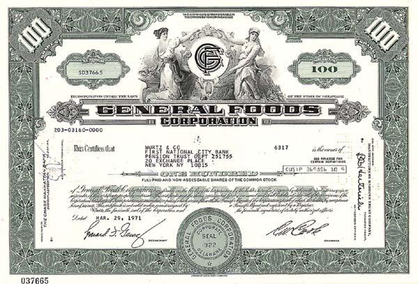 General Foods Corporation - Stock Certificate