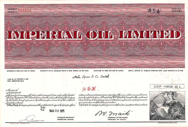 Imperial Oil Ltd - Stock Certificate