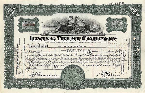 Irving Trust Co - Stock Certificate