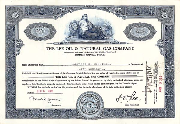Lee Oil & Natural Gas Co - Stock Certificate