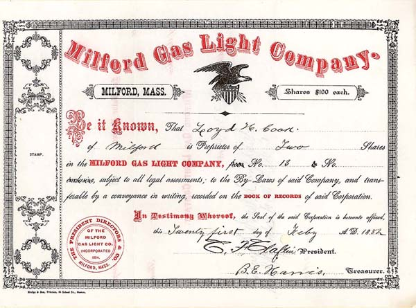 Milford Gas Light Company - Stock Certificate
