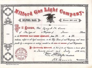 Milford Gas Light Co - Stock Certificate