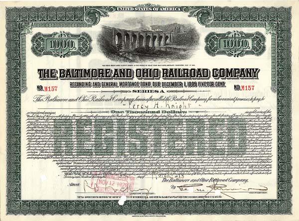 Baltimore & Ohio Railroad Company - Bond