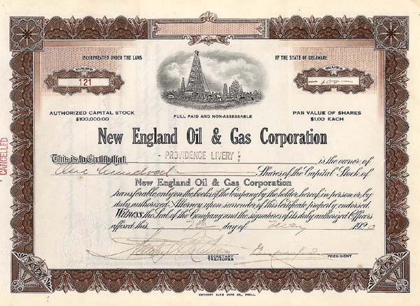 New England Oil & Gas Corp - Stock Certificate