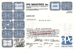 PPG Industries Inc (Pittsburg Plate Glass) - Stock Certificate