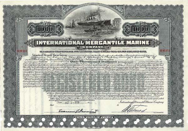 International Mercantile Marine - Bond - Company that Made the Titanic