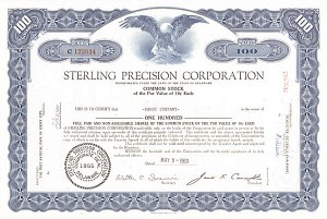 Sterling Precision Corporation - Stock Certificate