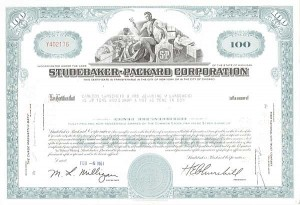 Studebaker-Packard Corporation - Stock Certificate