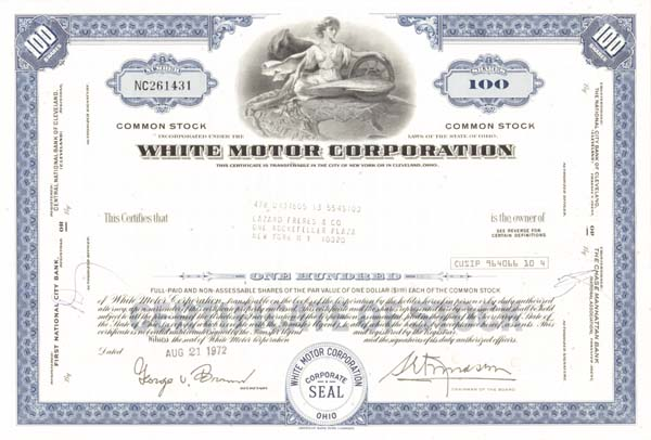 White Motor Corporation - Stock Certificate