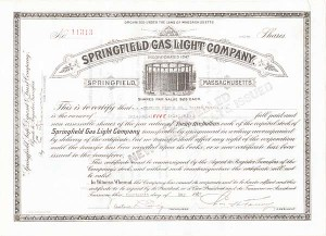 Springfield Gas Light Co - Stock Certificate
