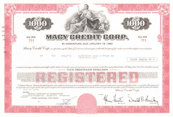 Macy Credit Corporation - Bond