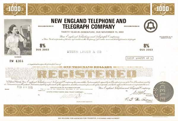 New England Telephone & Telegraph Company - Bond