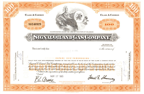 Signal Oil & Gas Co - Stock Certificate