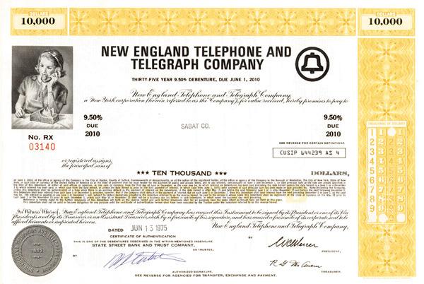 New England Telephone and Telegraph Company - Bond