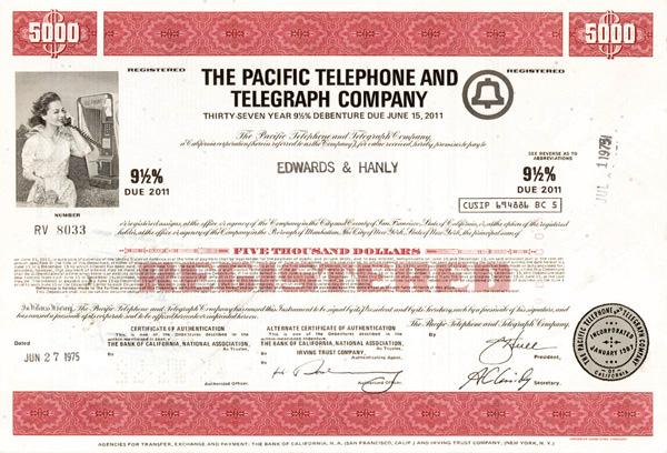 Pacific Telephone and Telegraph Company - Bond