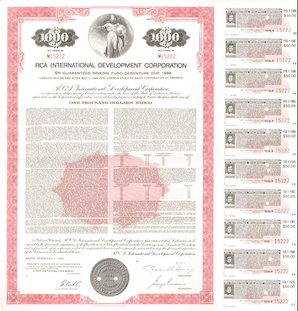 RCA International Development Corporation - Bond