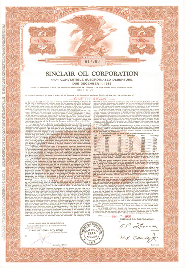 Sinclair Oil Corp - Bond