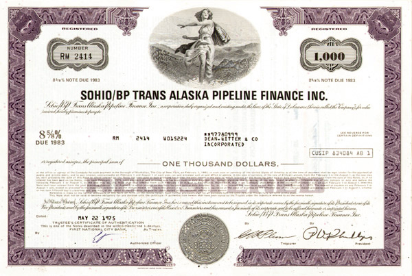 Sohio/Bp Trans Alaska Pipeline Finance Incorporated - Bond