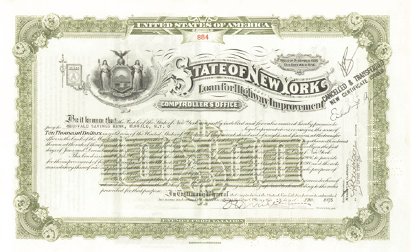 State of NY-Loan For Highway Improvement - Bond