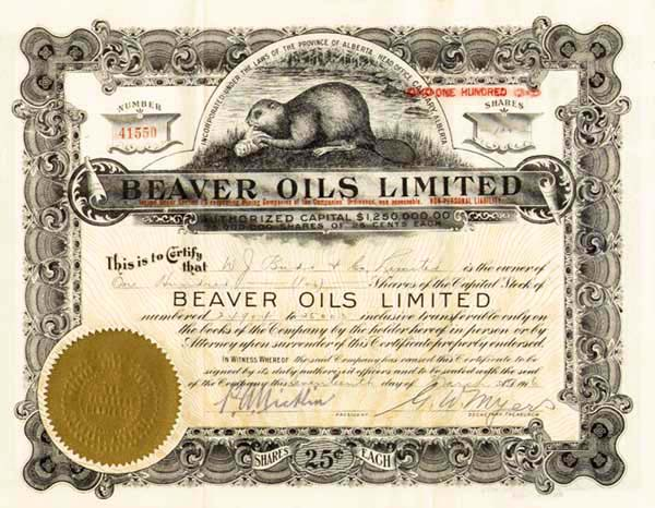 Beaver Oils Limited - Stock Certificate